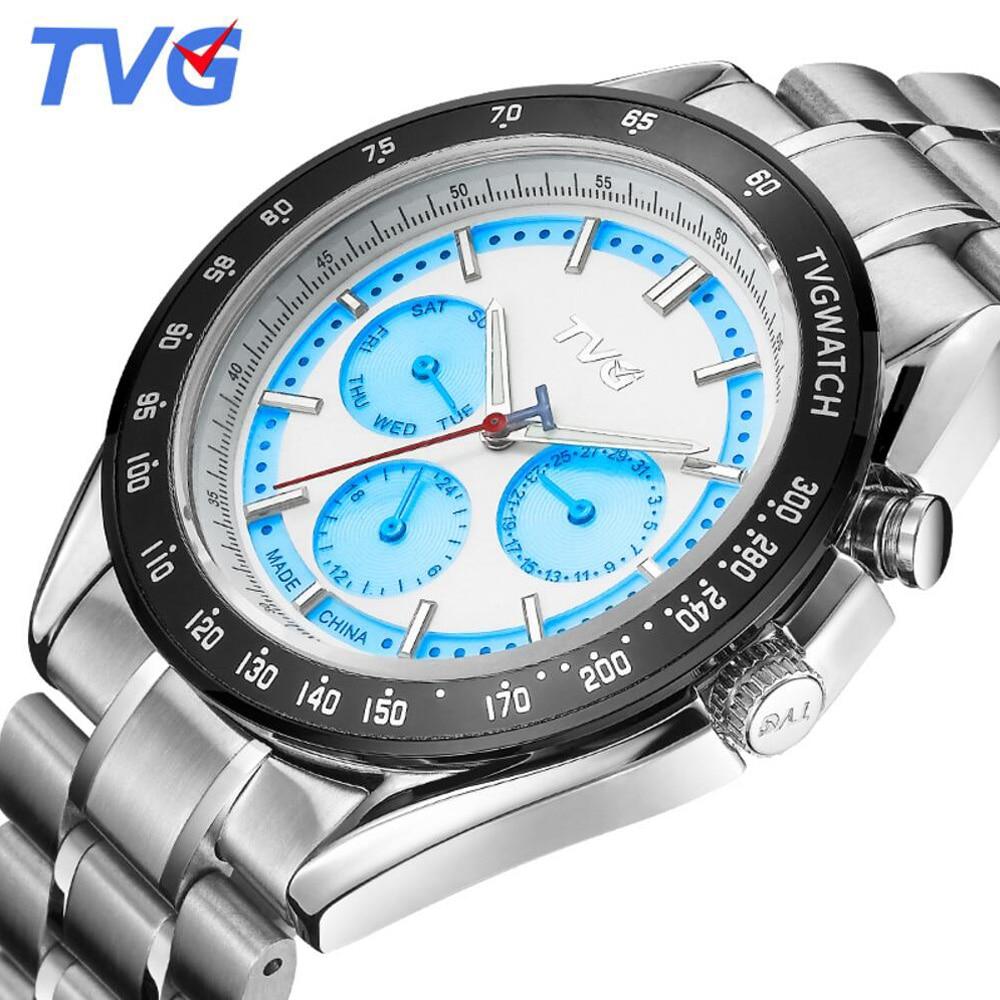 2017 TVG Stainless Steel Analog watches Luxury Quality Clock Japanese Quartz movement 30M waterproof Quartz Watch Date display<br><br>Aliexpress