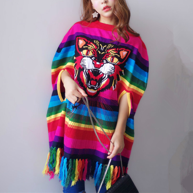 Women Poncho 2017 Autumn Winter Runway New Knitted Pullover Tiger Head Beading Cloak Rainbow Striped tassel Oversized Sweaters