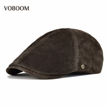 VOBOOM Genuine Leather Flat Caps Men Women Real Authentic Pigskin Ivy Cap Cabbie Breathable Beret Hats for Autumn Winter 153
