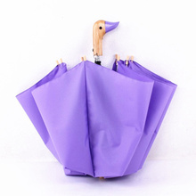 New fashion creative cartoon style lovely duck pattern sunny and rainy folding wood umbrella Child and Women Automatic Umbrella