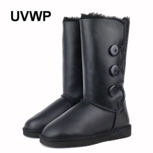 UVWP Women's Snow Boots Waterproof Winter Boots Genuine Sheepskin Leather Fashion High Warm Natural Fur Wool Women Boots(China)