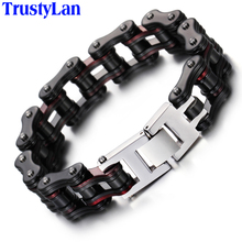 TrustyLan 16MM Wide Heavy Solid Stainless Steel Bike Bracelet Men Bicycle Motorcycle Chain Link Bracelets Punk Rock Jewelry