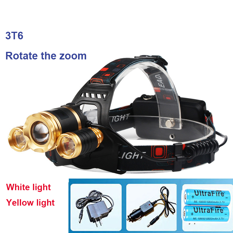 NEW Zoomable LED Headlight 6000 Lumens upgrade 3 * CREE XM-L T6 Head Lamp High Power LED Headlamp + 2pcs 18650 5800mah + Charger<br><br>Aliexpress