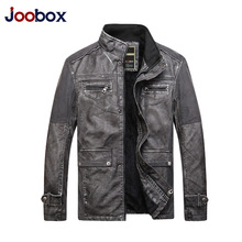 Buy Men Retro Punk Pu Leather Jacket Long Sleeve Stand Collar Warm Fur Lining Winter Motorcycle Jackets Male Coat Rock Biker Clothes for $57.16 in AliExpress store