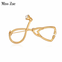Miss Zoe Medical Stethoscope Brooch Pins Gold Silver Crystal Collar Corsage Nurse Physicians Medical Student Graduation Gift(China)
