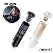 Remax RB-T11 2in1 Mini Bluetooth Headphone USB Car Charger Dock Wireless Car Headset Bluetooth Earphone for iPhone 7 6S Android