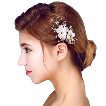 wedding party bridal romantic pink voile flower with crystal beads hair pin bride headband hair accessories hair jewelry