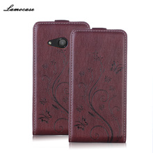 Leather Case For For Nokia 550 Flip Cover For Microsoft Nokia 550 Lumia 550 Embossing Printing Leather Mobile Phone Bags & Cases(China)