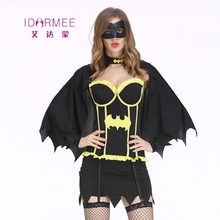 IDARMEE New 5 Pcs Sexy Batman Costume Fancy Dress Sexy Corset Halloween Costumes for Women Batman Cosplay Outfits S9129(China)