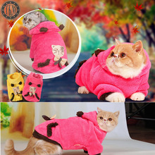 10pc Cat Clothes Lovely Cute Cartoon Soft Warmly Velvet Kit Cat Coat Puppy Dog Autumn Winter Coat Cosplay Costume TMPC012(China)