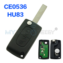 Flip remote car key 2 button for Peugeot 207 307 308 433 mhz ID46 - PCF7961 HU83 remtekey(China)