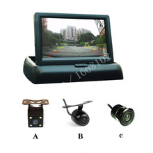"Free shipping New 4.3"" Foldable Digital TFT LCD Parking Reverse Car Monitor With Car Review Camera(China)"