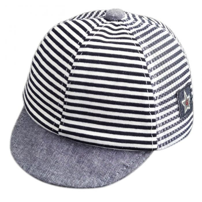 Spring Summer Horizontal Cap Peaked Stripe Gauze Cotton Fashion Baby AZxdwU6Aq