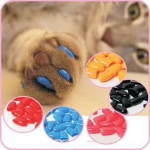 Hot sale 20Pcs/Lot Colorful Soft Rubber Pet Dog Cats Kitten Paw Claws Control Nail Caps Cover Size XS-XXL With Adhesive Glue(China)