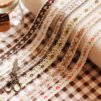 18Colors 1cm Single Face Grosgrain Embroidered Lace Webbing Ribbon/Doll Cloth Decoration DIY Gift Craft Packing Hair Accessories