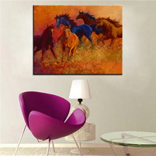 Large size Printing Oil Painting range wild horses Wall painting Steampunk Wall Art Picture For Living Room painting No Frame