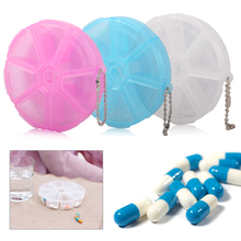 1Pc Round Portable 7 Slots Medicine Pill Box Organizer Health Care Drug Storage Case Container Dispenser Holder Rotating Pillbox(China)