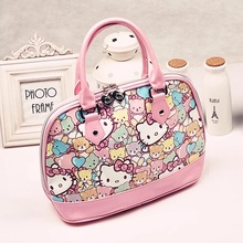 New 2017 Hello Kitty Designer Cartoon PU Printed Bolso Mujer Feminina Sac Handbag Women Totes Mummy Shoulder Bag 27*22*12cm