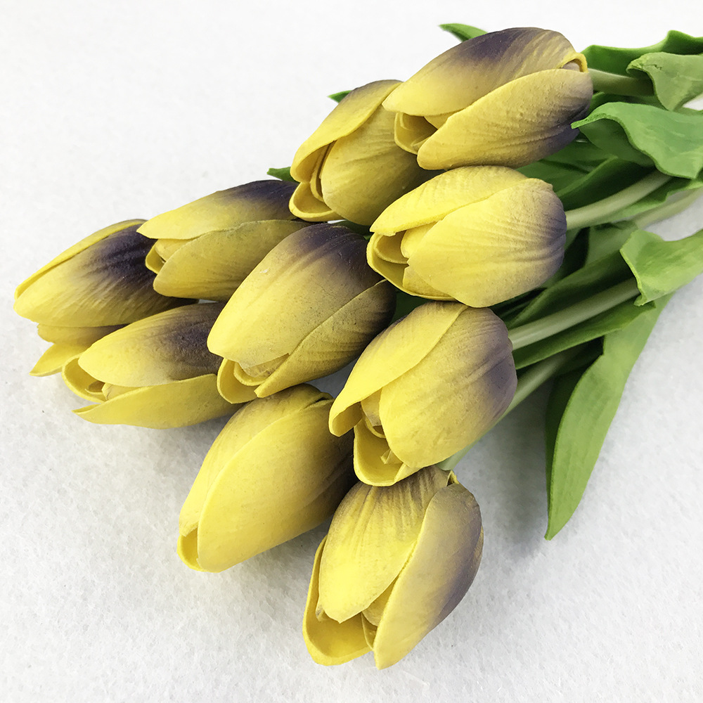 10PcsBag PU Holland Mini Tulip Artificial Flower Real Touch Tulip for Wedding,Home,Hotel,Party Decoration Valentine's Day Gift (25)