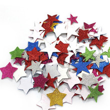 60PCs/ Pack Mix Color Glitter Foam Star Sticker Scrapbooking DIY Cheap Kindergarten Craft Kids Birthday Party Wedding Decoration(China)