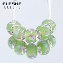 ELESHE Fashion Jewelry Antique Silver Charm Green Murano Glass Bead Fit Original Woman Bracelets&Necklace Christmas's Day Gift(China)