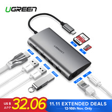 Ugreen Thunderbolt 3 док-адаптер USB C до 3,0 концентратор HDMI RJ45 Тип C конвертер для MacBook Pro huawei mate 20 P20 USB-C адаптер(China)