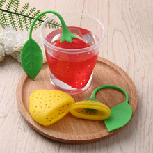 1PC Cute Lovely Red/Yellow Strawberry Loose Tea Leaf Strainer Herbal Spice Infuser Filter Diffuser Hot Tea Strainers(China)