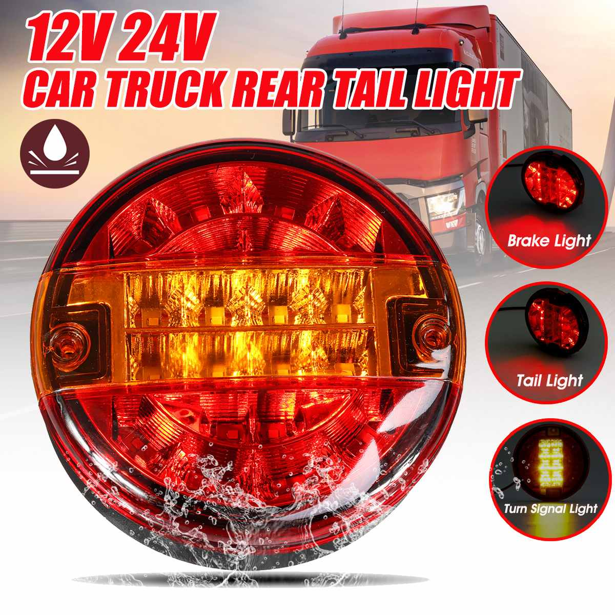 Set Of Round Neon Ring Led Hamburger Rear Tail Lamp Lights Truck Lorry Trailer