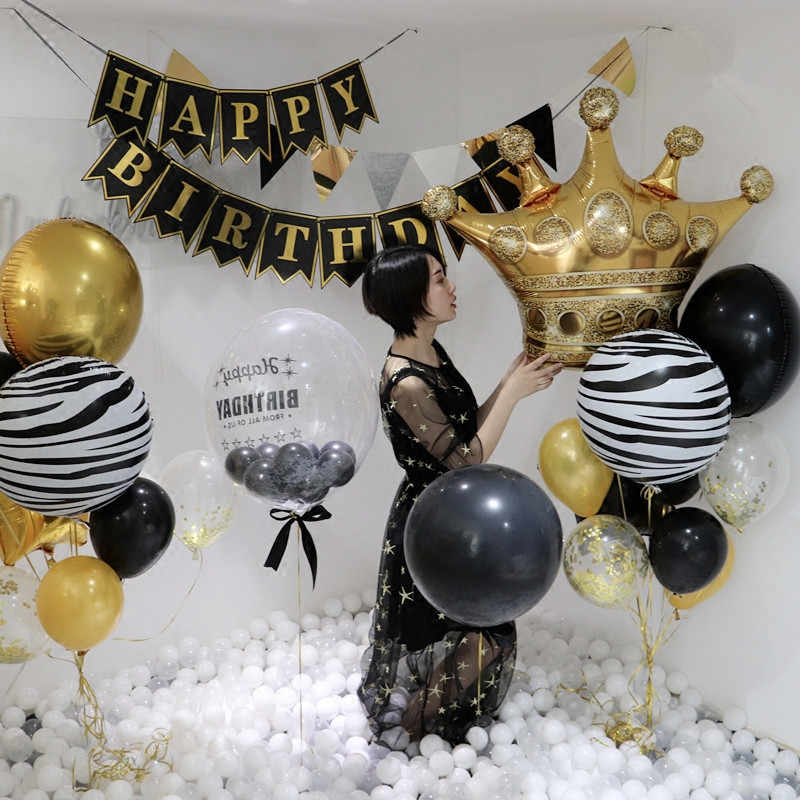 Big gold crown balloons wedding happy birthday Large foil balloons Princess  King Party Decoration Favor Black