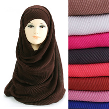 Large Size 180cm*90cm Pleated Crinkle Women's Hijab Scarf Muslim Head Wrap Shawl Plain Colours