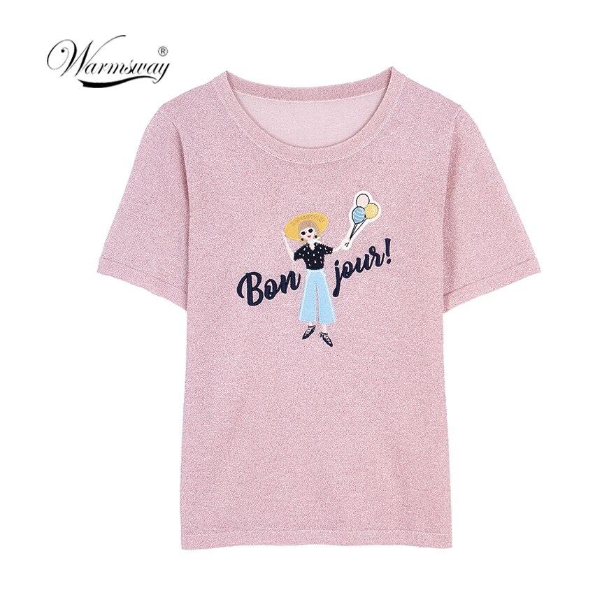 Summer Embroidery Thin T Shirt Women Knitted Casual Short Sleeves Top O-Neck Tshirt Slim Kintwear Female T-shirt B-060