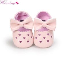 Newborn Baby Girls Shoes Bebe First Walkers Princess Big Bow Hollow Heart-Shaped Crib Flat Dress Ballet Shoes HOT(China)