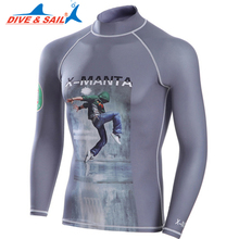 Dive&Sail mens Lycra long sleeve swimsuit UPF50 for men rashguard uv protection surf t shirt(China)
