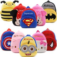 2017 Cartoon Kids Plush Backpacks Spiderman Mini schoolbag Hello Kitty Plush Backpack Children School Bags Girls Boys Backpack