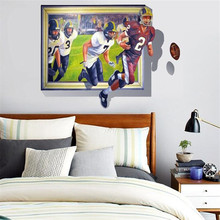 3D UV personality Unique Bedroom Decoration Rugby Ball match Wall Sticker Vinyl Removable Home Decor  AY8010