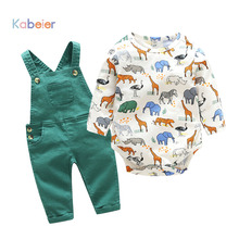 Newborn Baby Boy Girl Clothes Romper Long Sleeve Spring Cartoon Baby Bodysuit+Bib Pant Outfit Children Set Cute Infant Rompers