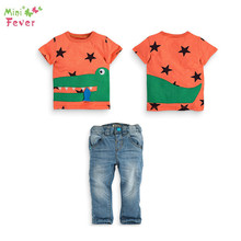 Free Shipping New Fashion boy short sleeve cartoon funny crocodile star orange t shirt jeans set children's clothes kids outwear(China)