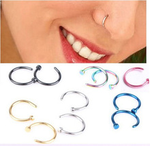 1 pieces sexy women's fake nose ring c shape clip on nose piercing studs stainless steel 316L anti-allergic silver black gold