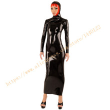 Buy Latex Long Women Dress Rubber Fetish Female Dresses Hood Black Fashion Rubber Dresses LD229