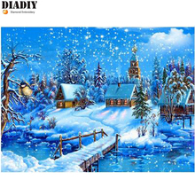 hobbies and diamond mosaic Christmas 5d diy diamond painting cross stitch diamond embroidery landscape winter scenery pattern(China)