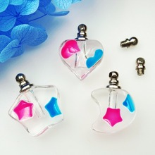 5pieces ball star moon heart luminous crystal vial pendants glow in dark Glass Vials perfume bottle name on rice charms