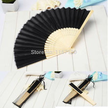 Free shipping 100 pcs/lot  black Folding Elegant Silk Fabric Hand Fan with Gift bag Wedding  Favors 21cm LS06*100 Chinese Fan
