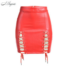Buy Mhysa 2018 New summer Women's skirt High waist imitation leather split sexy mesh skirt Hollow knee mini skirt H257 for $16.98 in AliExpress store