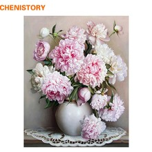 CHENISTORY Pink Europe Flower DIY Painting By Numbers Acrylic Paint By Numbers HandPainted Oil Painting On Canvas For Home Decor(China)