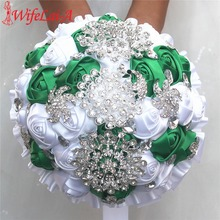 New Slik Diamond Brooch Bouquets Grass Green White Color For Wedding Factory Making Accept Custom W2797