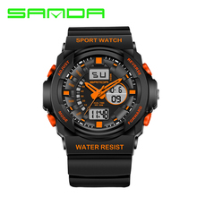 Mens watches from leading luxury brands Sanda Quartz Watches Analog Waterproof outdoor LED display Wristwatch relogio masculino(China)