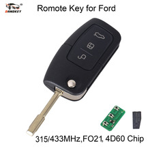 DANDKEY 433/315MHz 3 Buttons Flip Key Fob Transponder 4D60 Chip For Ford FOCUS MONDEO C MAX 2003-2010 GALAXY FO21 Blade(China)