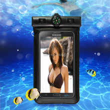 "100% sealed Waterproof Durable Compass Water proof Bag Underwater back cover Case for 4.7""-5.7"" phone For touch Pouch phone(China)"