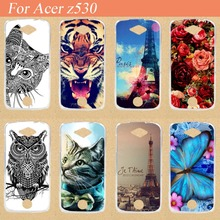 For Acer Liquid Z530 Case Cover,14 patterns Colored Painting Soft Tpu Case For Acer Z530 Phone Cover Bags Sheer Free Shipping