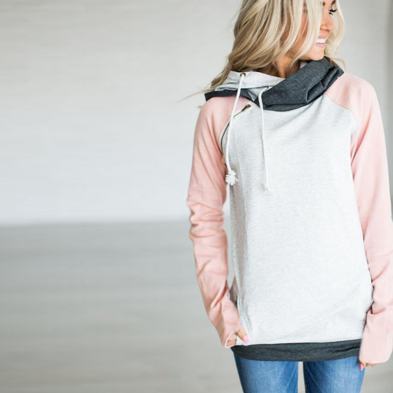 New Double Hood Sweatshirt, Women's Long Sleeve, Side Zipper Hooded Casual Pullover 23